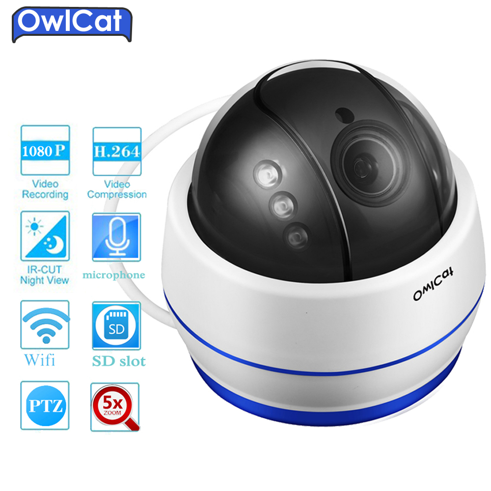 OwlCat HD 1080P Dome PTZ IP Camera Wifi 5X Optical Zoom Audio/Microphone Security CCTV Wifi Camera SD Slot IR Night Onvif2.4 P2P owlcat hd 1080p dome ptz ip camera wifi 5x optical zoom audio microphone security cctv wifi camera sd slot ir night onvif2 4 p2p