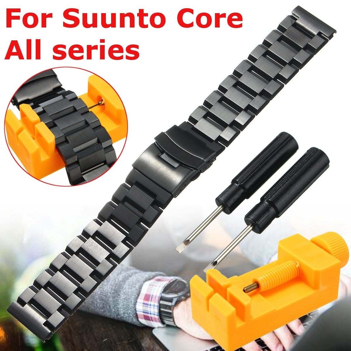 Stainless Steel Watchbands Strap 24mm Double Flip Lock Buckle For Suunto Core Silver Black Metal Watch Bracelets+Free Tools suunto core brushed steel