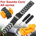 Stainless Steel Watchbands Strap 24mm Double Flip Lock Buckle For Suunto Core Silver Black Metal Watch Bracelets+Free Tools
