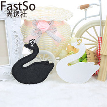 FastSo Black&white Cloth Swans Children Sweaters Skirts Cloth Pants Sticker Applique Embroidery Iron on Sew Patches for Clothing