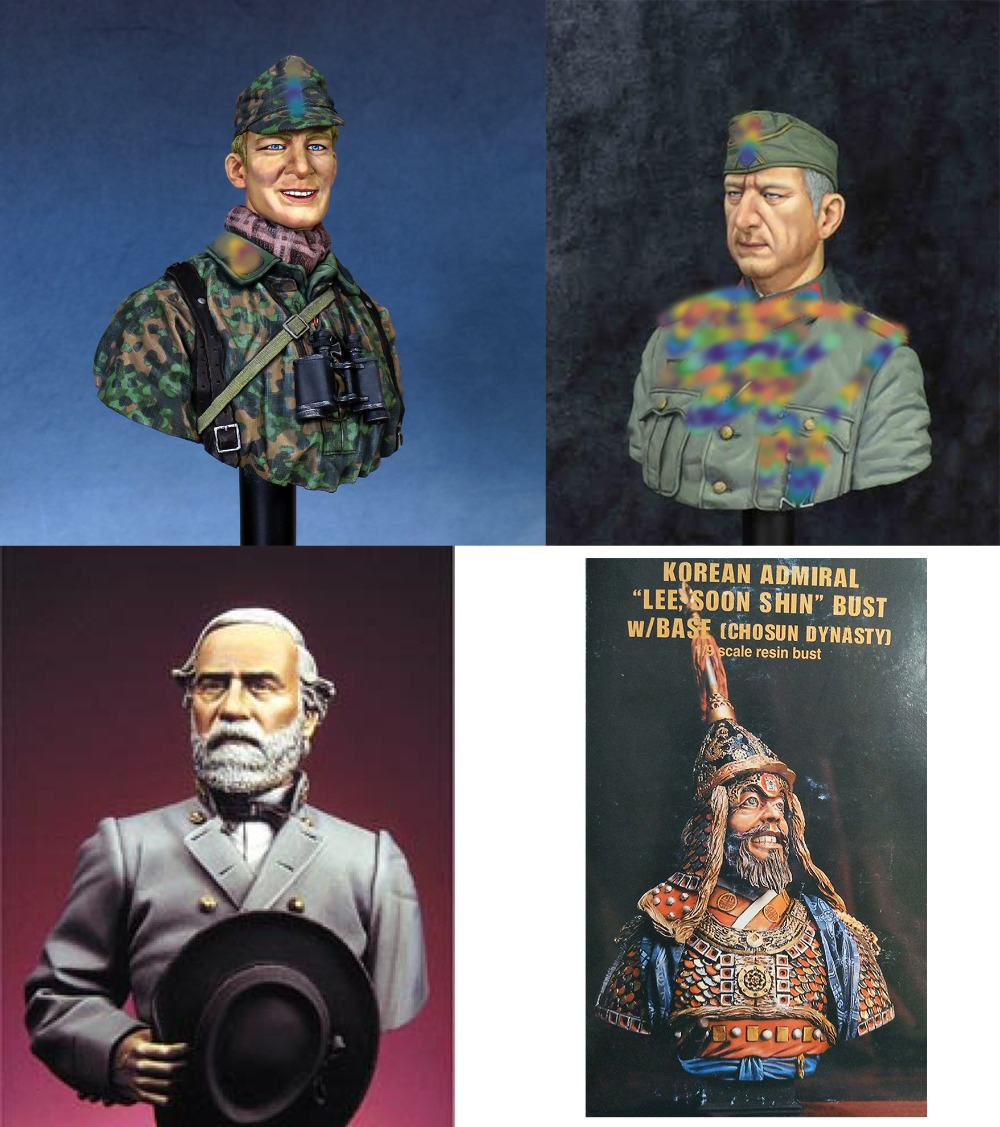 Assembly Unpainted Scale 1/10 Manstein and Normandy and Robert bust figure Historical Resin Model Miniature Kit image