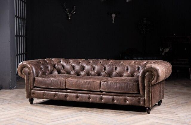 Chesterfield sof com sof de couro italiano para o estilo for Moderno furniture