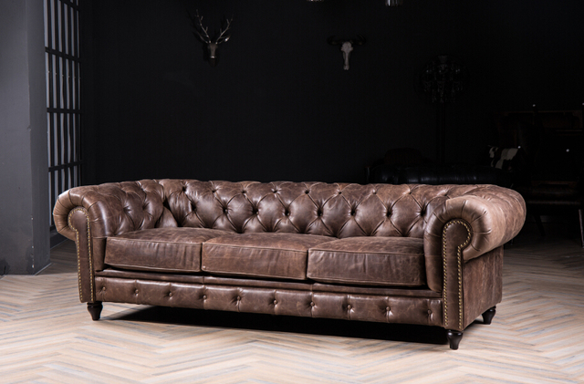 Chesterfield Sofa With Vintage Italian Leather For Antique Style Genuine 3seater