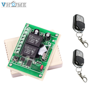 Vhomeスマートホーム新しい433 mhzワイヤレスrfスイッチdc12v 2ch 2 chリレー受信機モジュールと2ピース4キーrf 433 mhzリモートコントロール