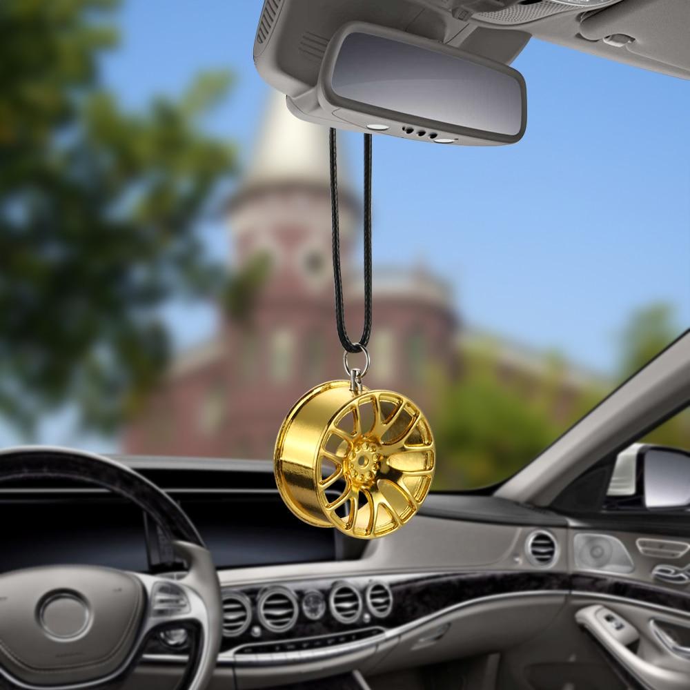 Car Ornament Pendant Metal Wheel Hub Flywheel Hanging Hip-hop Auto Interior Rear View Mirror Decoration Dangle Trim Accessory