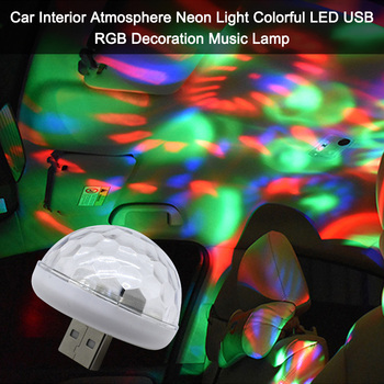 New Car Interior Atmosphere Light Neon Light Colorful LED Car USB RGB Decoration Music Sound Lamp Mini DJ Light image