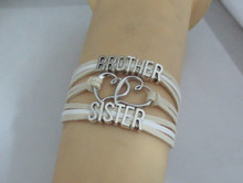 Infinity Love Brother Sister Bracelets Handmade Charm Bangles For Women And Men