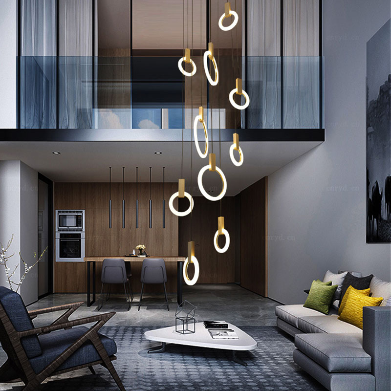 Nordic минималистский люстра баров лестница вилла модель дом люстра круговой трубки люстра Книги по искусству зал Серьги светодиодные
