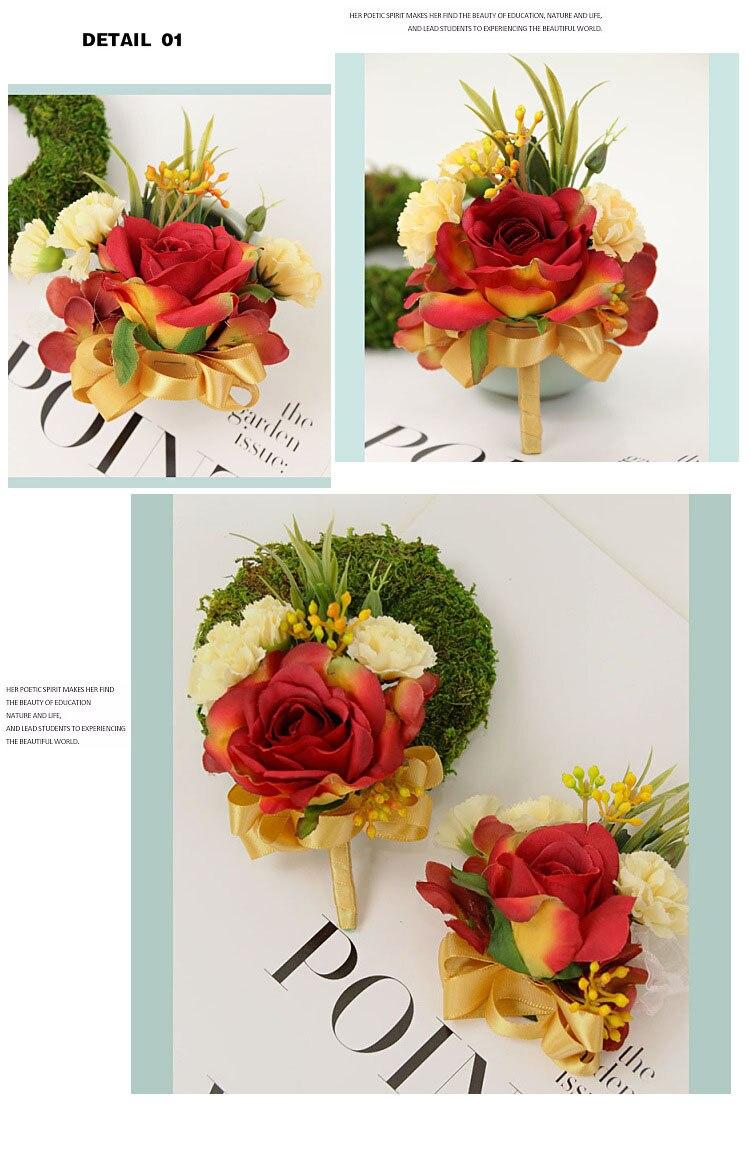 bridesmaid bracelet wedding corsage flowers roses artificial  (5)