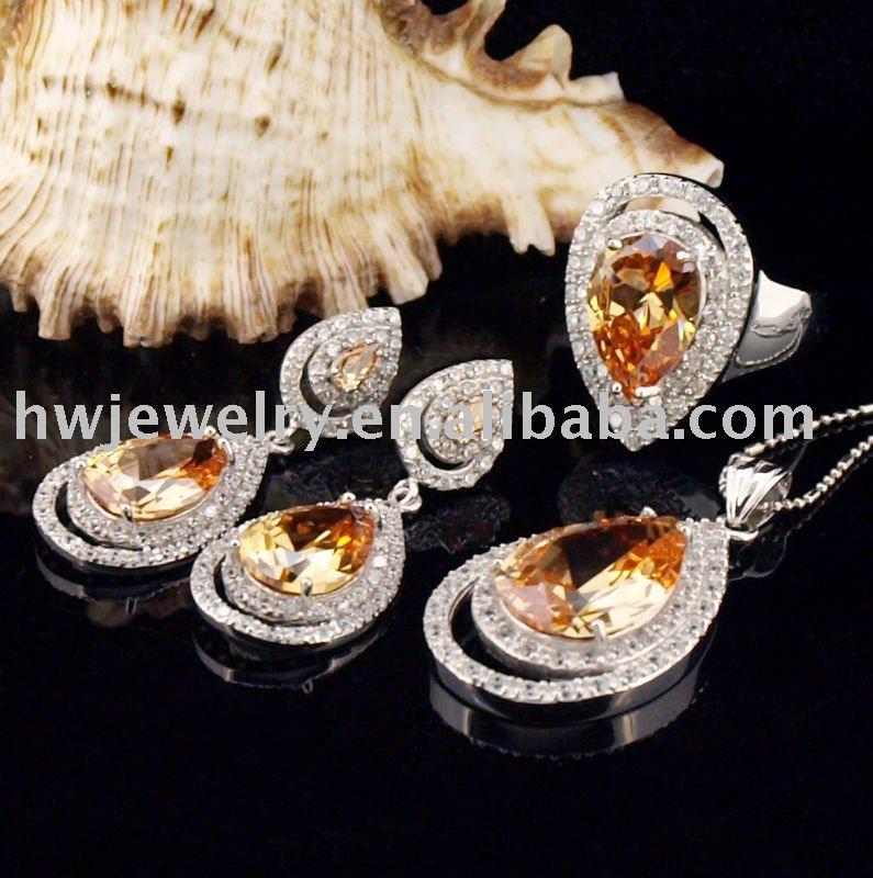 Ensemble de bijoux, argent 925 produits, cadeau, produits de Promotion, style de luxe, HWJS80856-couleur champagne