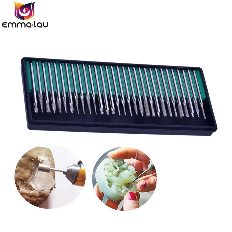 30Pcs/Set Diamond Burrs Grinding Bit For DREMEL Rotary Tools Plating Alloy Grinding Needle Bits 3mm Shank Rotary Accessories
