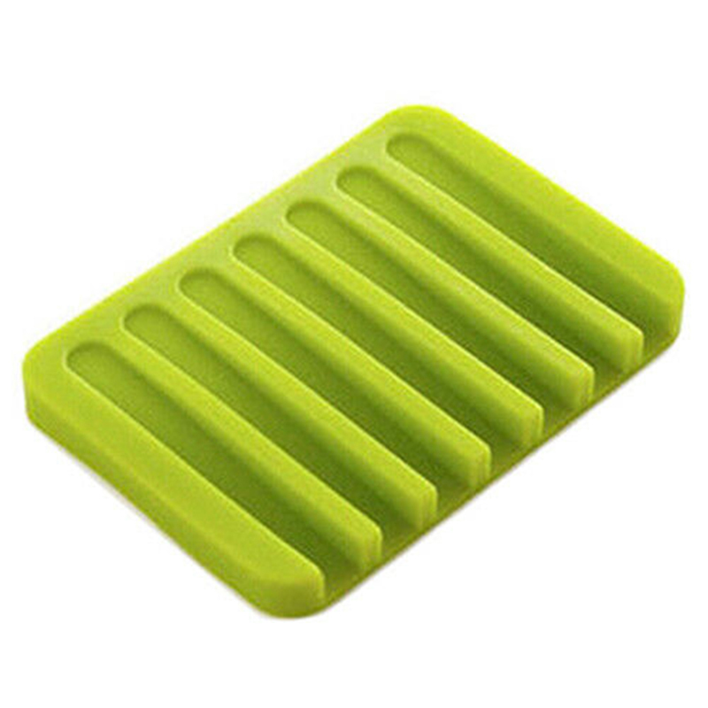 Image 4 - 1PC Anti slip Silicone Soap Dish Plate Holder Tray Soap Box for Kitchen Bathroom-in Bathroom Accessories Sets from Home & Garden