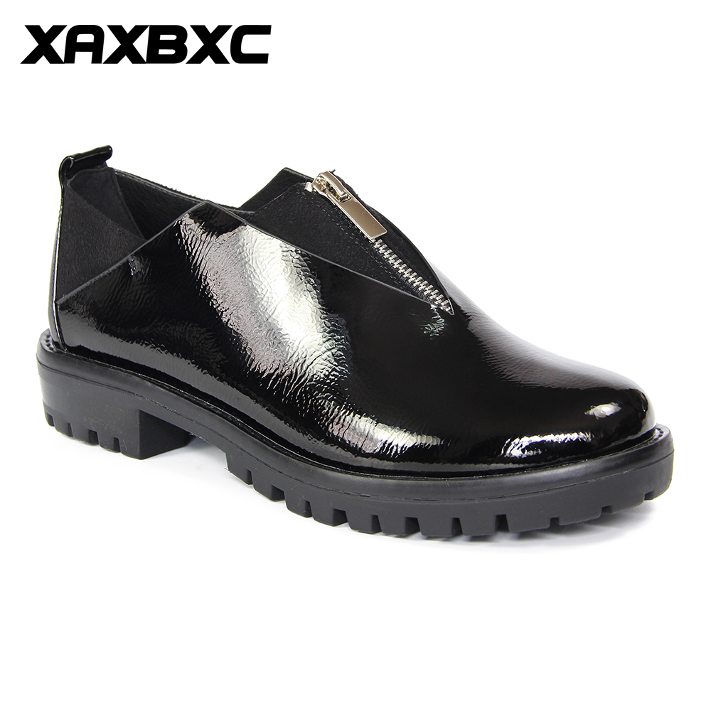 XAXBXC 2018 Spring New Oxfords Shiny Patent Leather Zipper Female Platform Pumps Casual Handmade Shallow Women