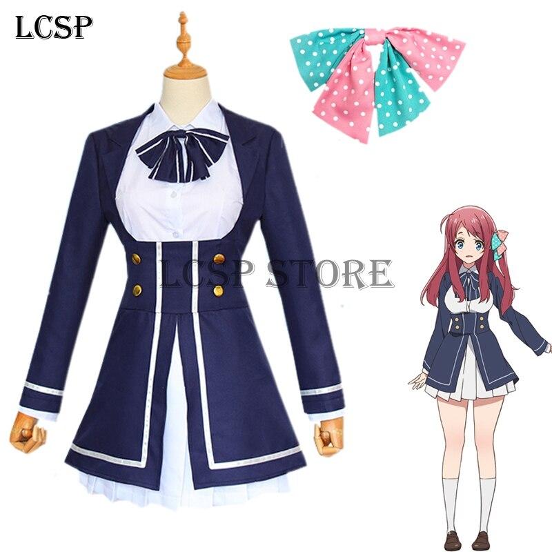 LCSP ZOMBIE LAND SAGA Minamoto Sakura Cosplay Costume Japanese Anime School Uniform Full Set Suit Outfit Clothes a-line