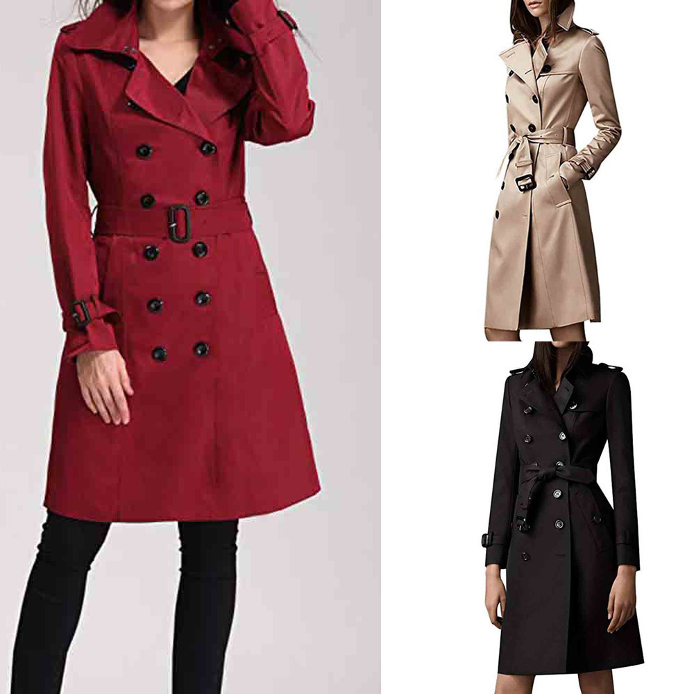 trench   coat for women Winter Lapel Double-Breasted Slim Long   Trench   Coat Overcoat 2018 autumn women fashion manteau femme