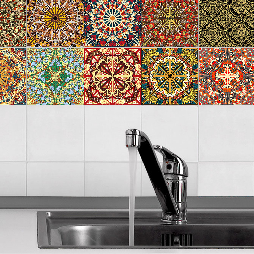 10pcs Arab style tiles tile kitchen background wallpaper bathroom dinning room wall decal film stickers home decor supplies