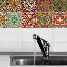 10pcs Arab style tiles tile kitchen background wallpaper bathroom dinning room wall decal film wall stickers home decor supplies