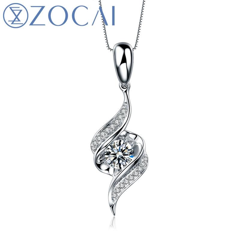 Encounter 0.11 ct natural genuine diamond 18K white gold pendant + 925 silver chain as gift D04461