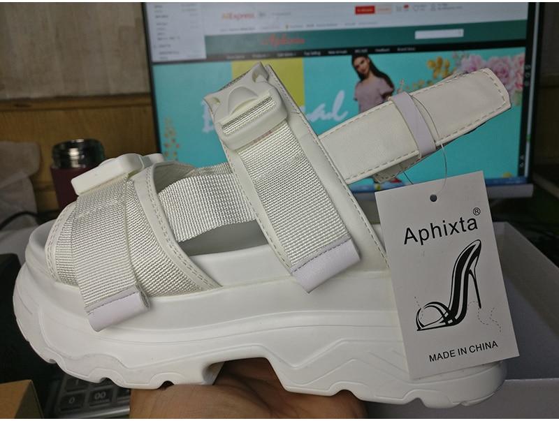 HTB16lryQIfpK1RjSZFOq6y6nFXai Aphixta 8cm Platform Sandals Women Wedge High Heels Shoes Women Buckle Leather Canvas Summer Zapatos Mujer Wedges Woman Sandal