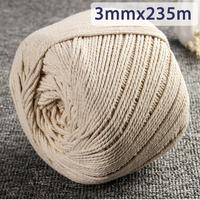 3mmx235m Natural Beige White Cotton Twisted Cord Rope DIY Craft Macrame String Handmade Decorative Accessories