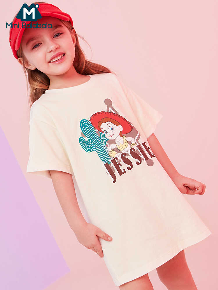 Mini balabalaBaby Girls short sleeve cotton tshirt 2019 summer new children o neck cartoon long t shirt children