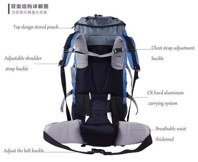 Creeper Free Shipping Professional Waterproof Rucksack External Frame Climbing Camping Hiking Backpack Mountaineering Bag 60L 3