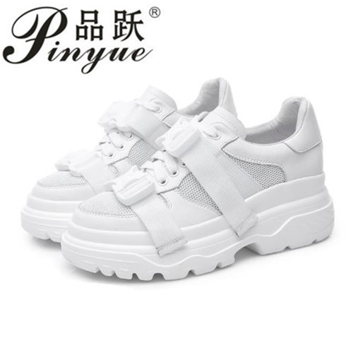 Nouveau 2018 mode Printemps femmes casual chaussures dames wedge Haute plate-forme chaussures femmes Air mesh chaussures Lace Up blanc noir rouge