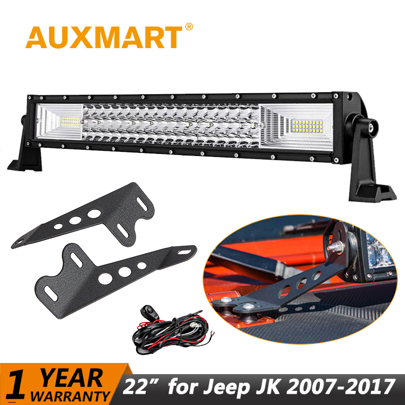 Auxmart LED Bar 22 324W for Jeep Wrangler JK 2007~2018 LED Light bar Work Light Offroad Lamp for Jeep Wrangler Unlimited JKU on sale 2pcs auto accessories 6500k 4inch 30w led fog lamp light fits for jeep wrangler jk 2007 2015
