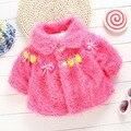 Милый зима осенней цветок шерсть детские верхняя одежда одежды девушки пальто младенца