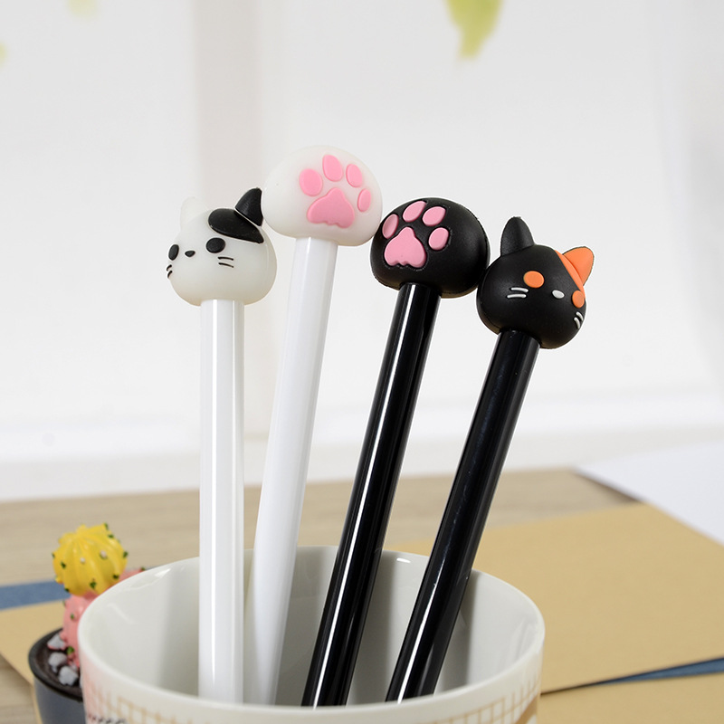 4 Pcs Creative Cute Cat Cat Paw Pen Neutral Pen Full Needle Tube Head Black Signature Pen Student Stationery