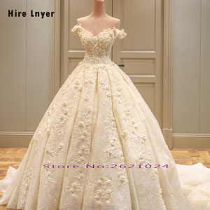 Image 2 - HIRE LNYER Custom Made Off The Shoulder Short Sleeve Beading Appliques Lace Flowers Princess Ball Gown Wedding Dresses Plus Size