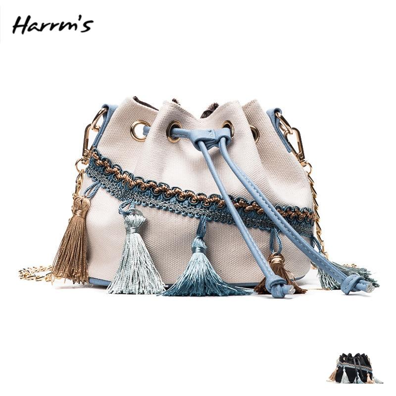 HOT Vintage Fashion Women Handbag Tassel Drawstring Bucket Bag Canvas Leather Shoulder Cross-Body Female Handbags Messenger Bag