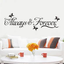 Art Design Butterflies Stickers Wall Decorations Always And Forever Diy Vinyl Adesivos De Paredes Home Decal