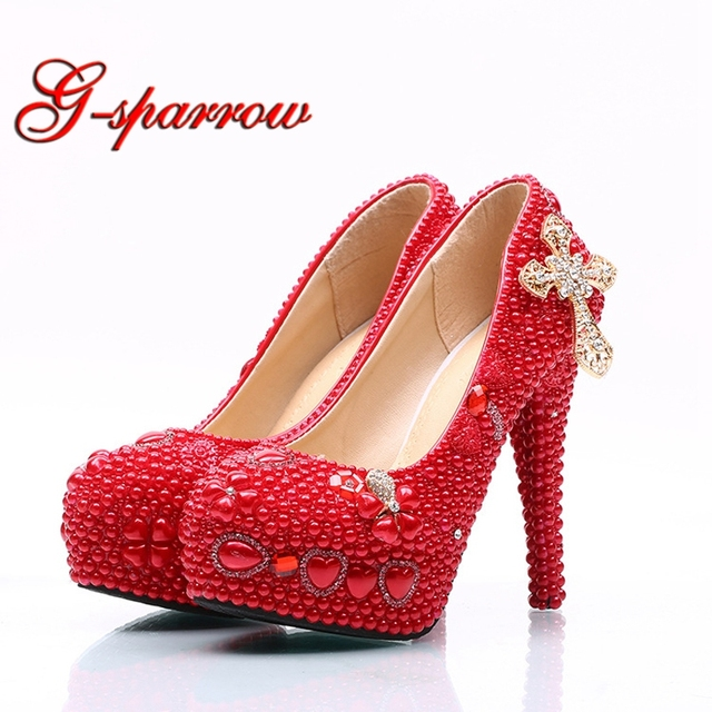 77aec6de9db Lady red high heels bridal wedding party shoes with pearl and rhinestone  cross mother of bride