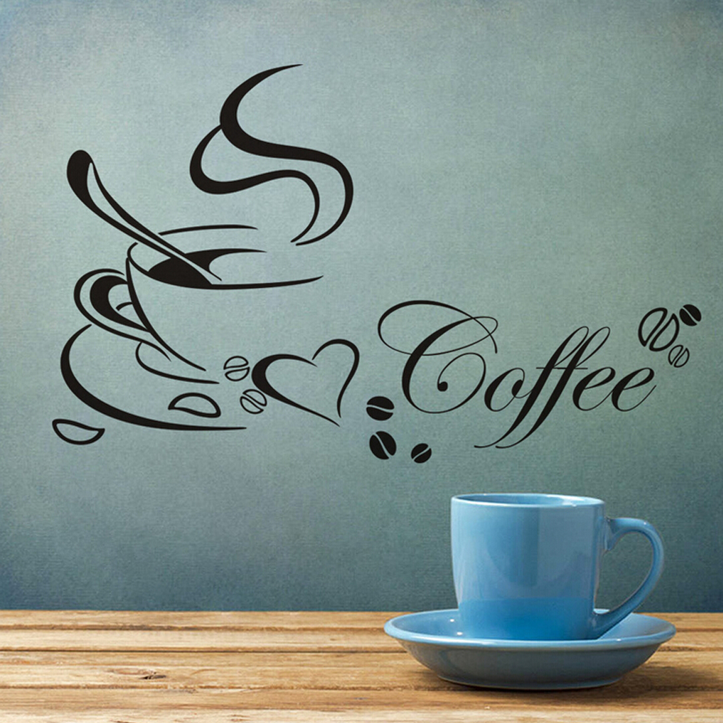 Coffee pattern home kitchen cup wall stickers removable wall decor art  vinyl Inexpensive(China (