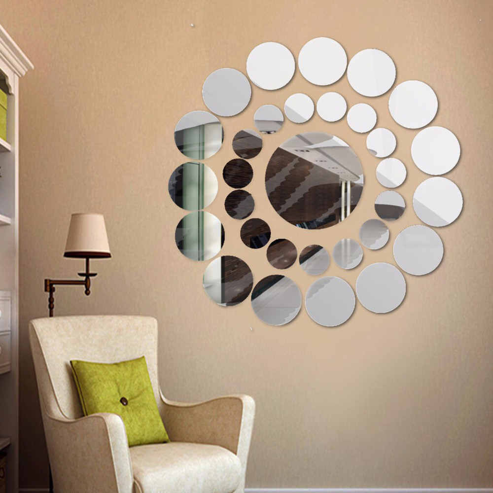 Mirror Wall Stickers 31 PCS DIY Acrylic Mirror Surface Wall Stickers Circle Pattern Adesivo de Parede Home Decoration #815