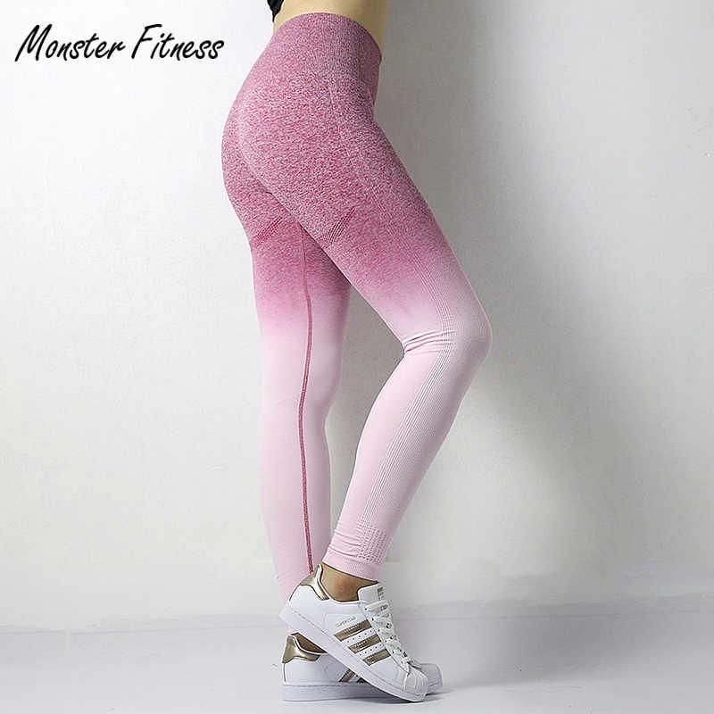 6663ee466cfc3c 2018 Stretchy Gym Tights Energy Ombre Seamless Leggings Tummy Control Yoga  Pants High Waist Sport Leggings