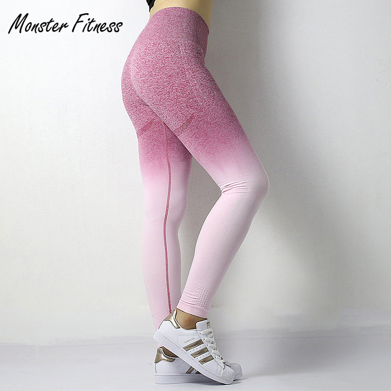 2018 Stretchy Gym Tights Energy Ombre Seamless Leggings Tummy Control Yoga Pants High Waist Sport Leggings Running Pants Women купить недорого в Москве