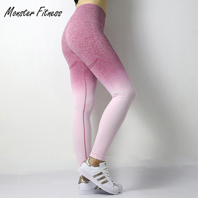 6663ee466cfc3c 2018 Stretchy Gym Tights Energy Ombre Seamless Leggings Tummy Control Yoga  Pants High Waist Sport Leggings