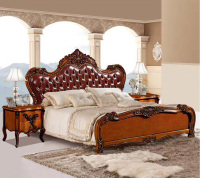 modern european solid wood bed Fashion Carved 1.8 m bed french bedroom furniture DCXB806