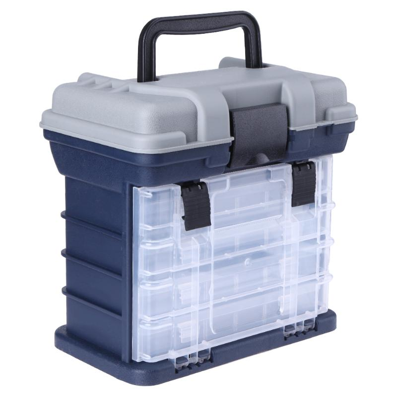 Portable Plastic Outdoor 5 Layer Big Fishing Tackle Tool Storage Box with Handle Durable Fishing Tackle Storage Case 27*17*26cm portable storage case box for fishing gadgets transparent