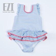 July Sand/; детский купальный костюм; одежда для купания для маленьких девочек; мягкий цельный купальник в полоску с бантом и помпонами для ухода за кожей; 010175