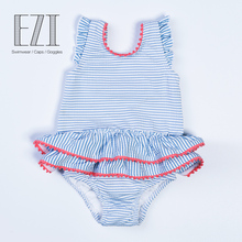 july sand bowknot decorated striped soft skin care pom pom baby one-piece swimsuit