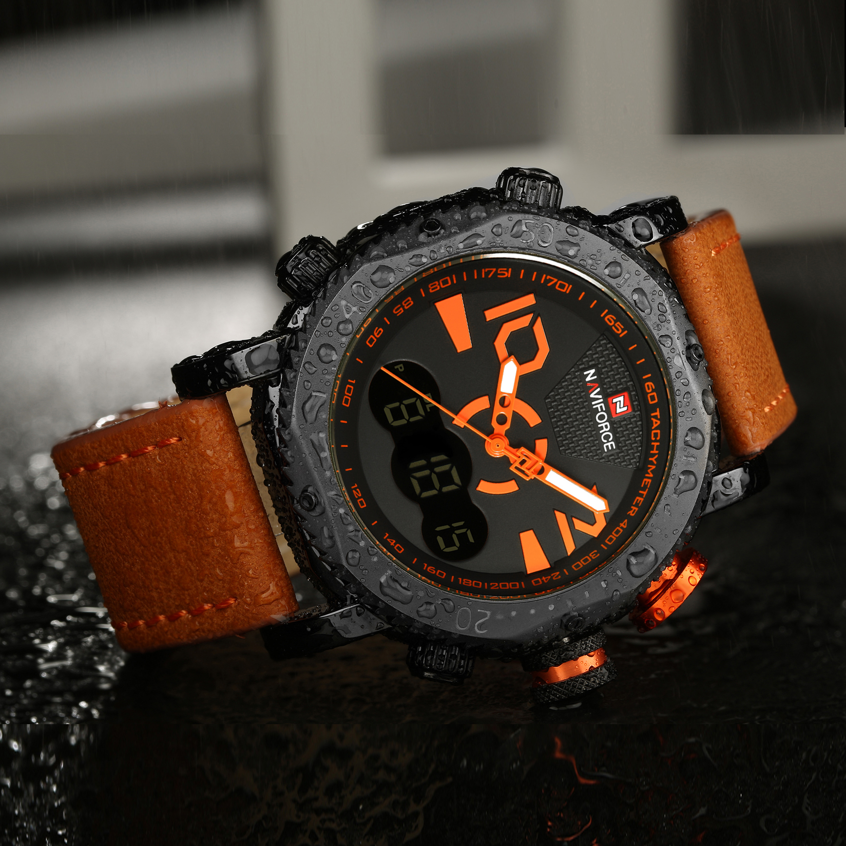 NAVIFORCE Military Sport Dual Time Quartz LED Digital Analog Clock Orange Leather Strap Waterproof Mens Watches Top Brand Luxury