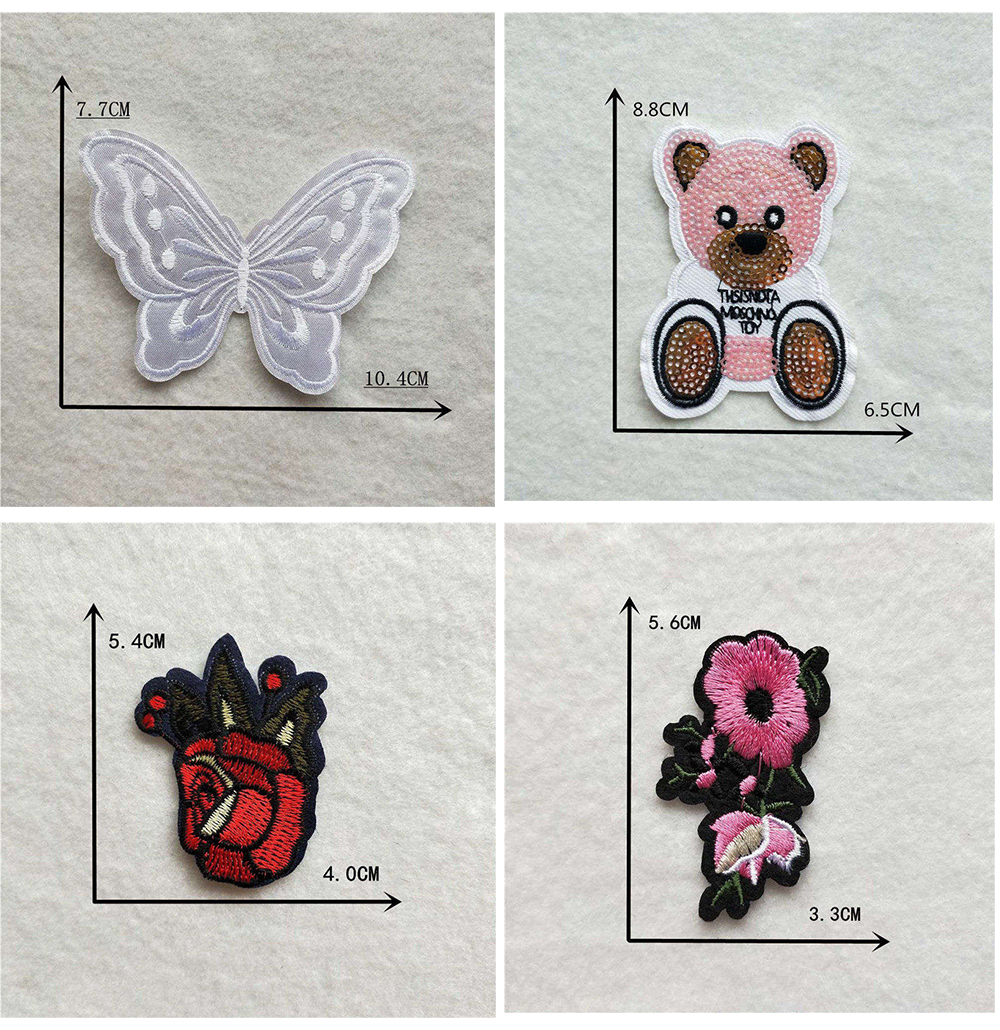 Мультяшная декоративная заплатка, сердце, дерево, Бабочка, узор, вышитая аппликация, нашивки для DIY, железные наклейки на одежду
