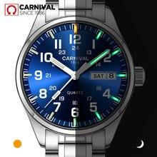 Carnival T25 Tritium Gas Luminous ควอตซ์นาฬิกาผู้ชาย Mens นาฬิกาคริสตัล Sapphire นาฬิกา relogio masculino