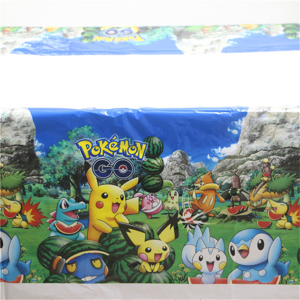 1pcs\lot Happy Birthday Party Tablecover Pokemon Go Cartoon Theme Tablecloth Kids Favors Baby Shower Decoration Maps Supplies