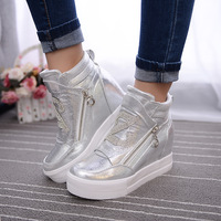 Women Boots Wedge Concealed Heel High Top Platform Ankle Boots Lace Up Rhinestone Boots Zipper Shoes