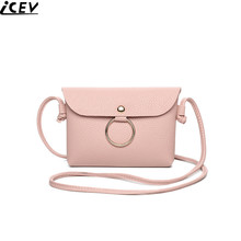 ICEV new mini phone package small PU leather solid cover flap bag clutch personality metal ring shoulder crossbody bags wallets