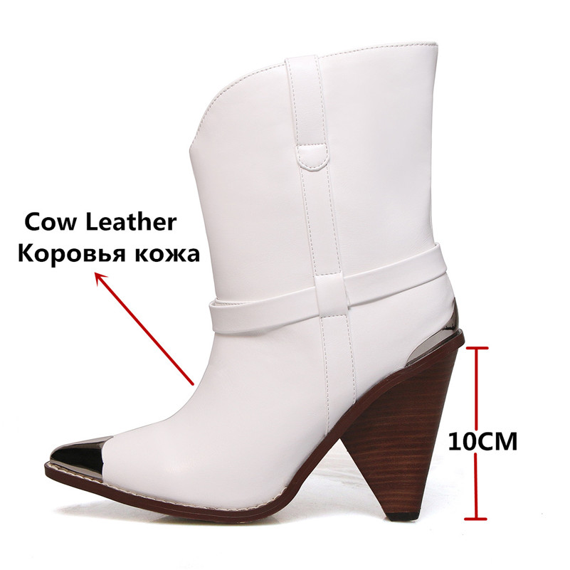 Image 2 - FEDONAS Women Brand Midcalf Boots Sexy Pointed Toe Autumn Winter Metal Toe Party Dancing Shoes Woman High Genuine Leather Boots-in Mid-Calf Boots from Shoes